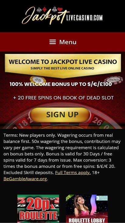 Jackpot live casino home page