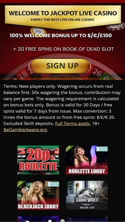 Jackpot live casino promotion page