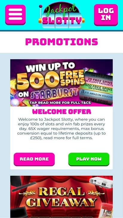 Jackpot slotty promotions page