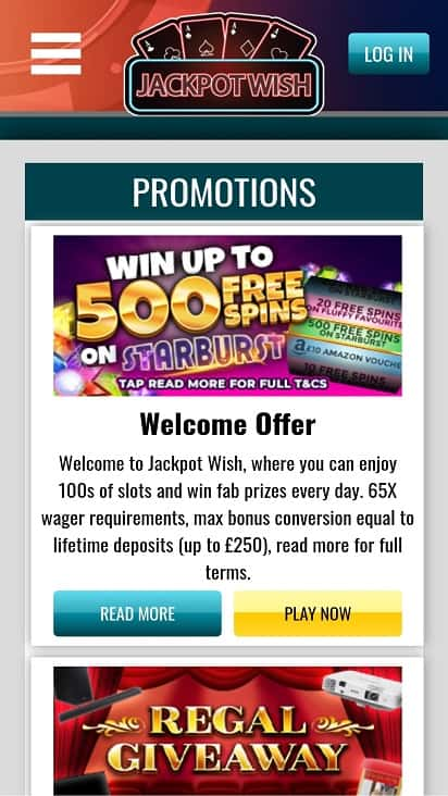 Jackpot wish promotions page