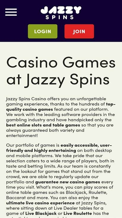 Jazzy spins games page