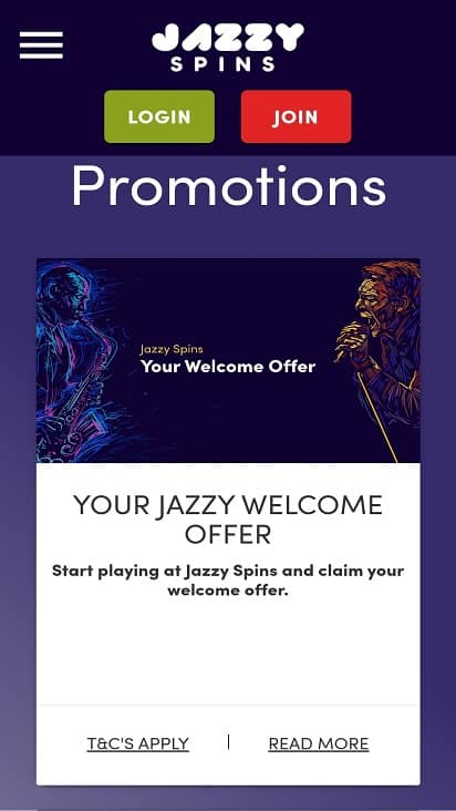 Jazzy spins promotions page