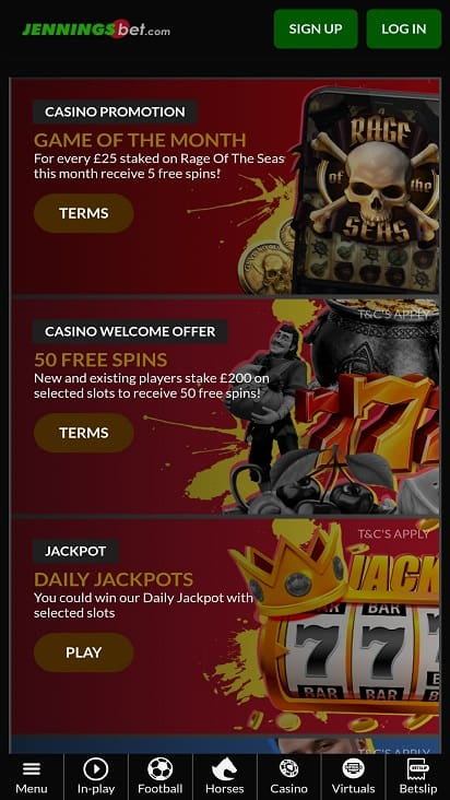 Jennings bet promotions page