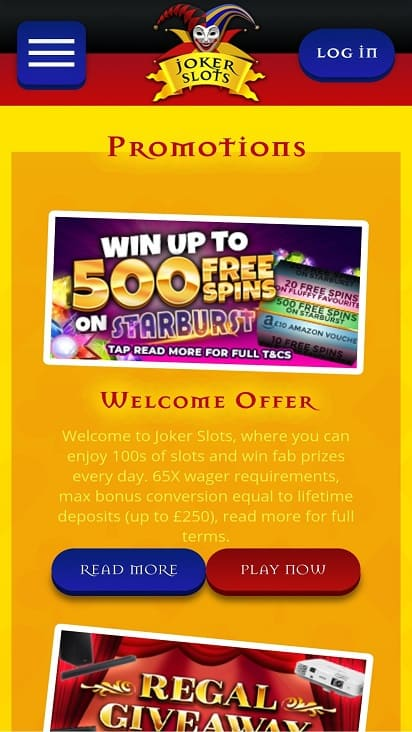 Joker slots promotions page