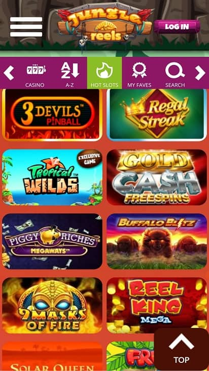 Jungle reels games page