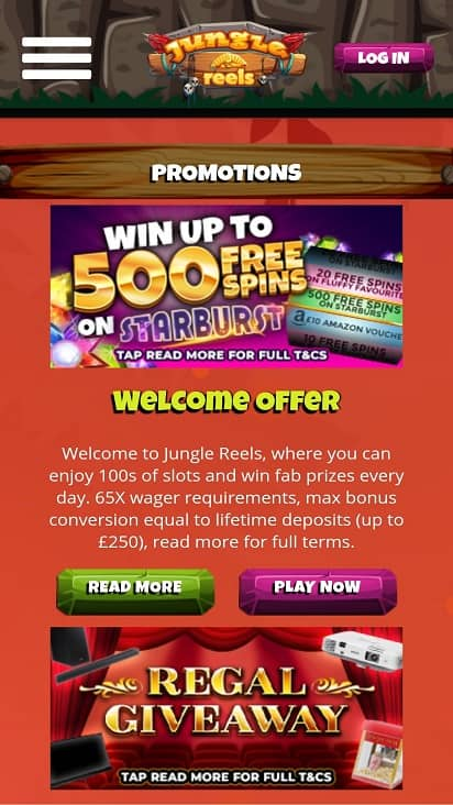 Jungle reels promotions page