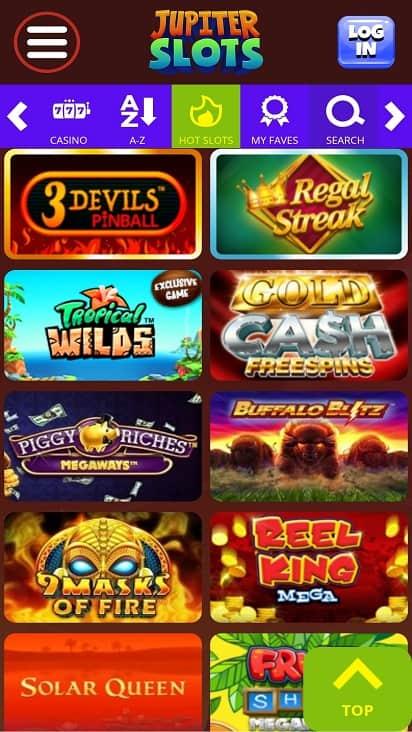Jupiter slots games page