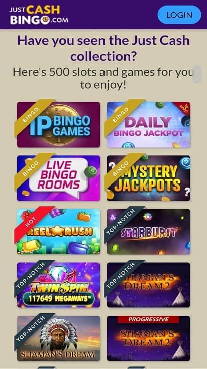 Just cash bingo games page