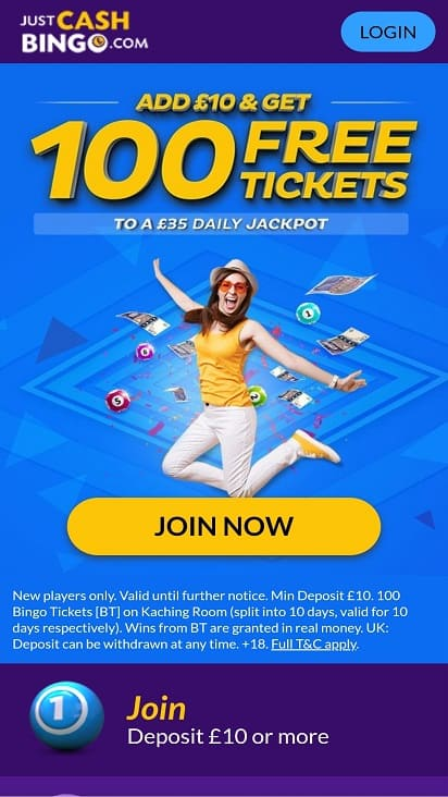 Just cash bingo home page