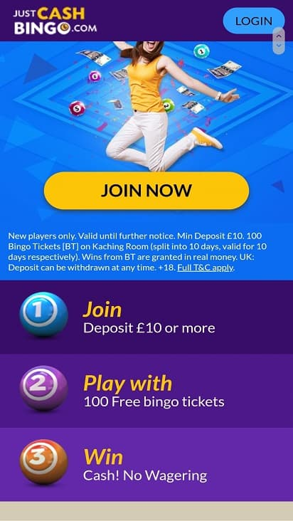Just cash bingo promotions page
