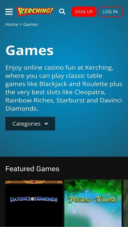 Kerching games page
