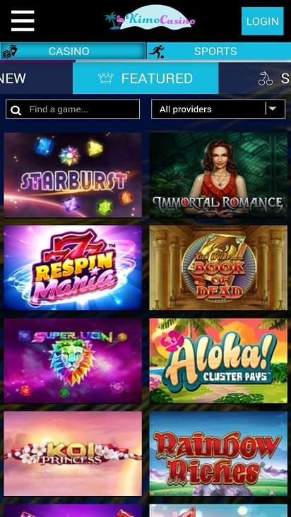 Kimo casino games page