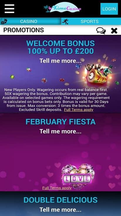 Kimo casino promotions page
