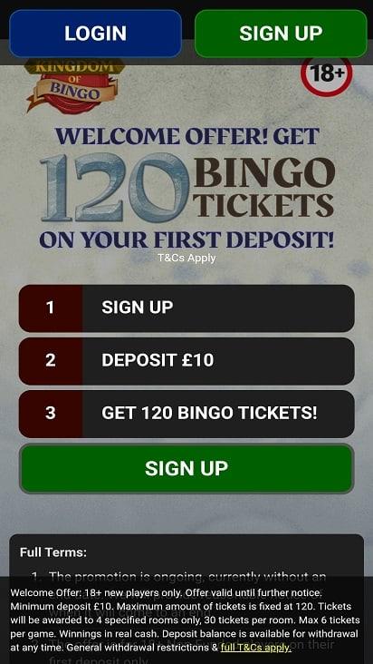 Kingdom of bingo home page