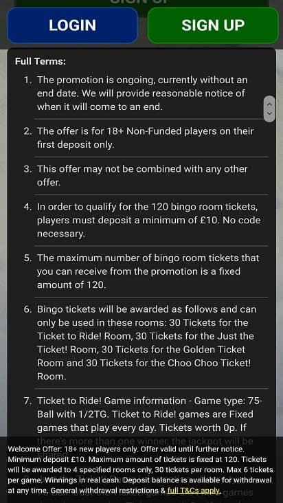 Kingdom of bingo promotions page