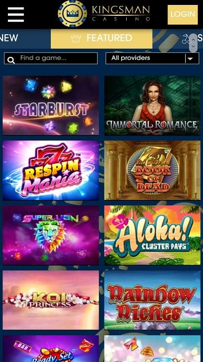 Kingsman casino games page