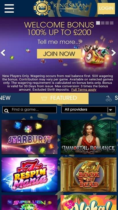 Kingsman casino home page