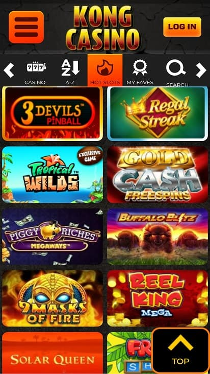 Kong casino games page