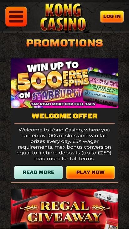 Kong casino promotions page