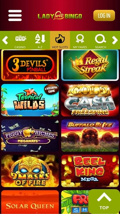 Lady love bingo games page