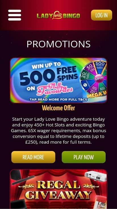 Lady love bingo promotions page