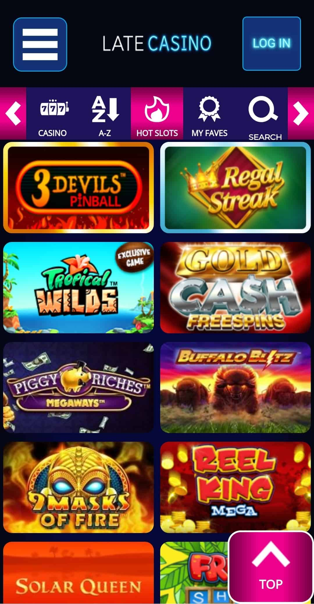 Late casino games page