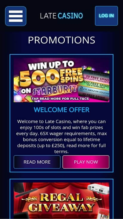 Late casino promotions page