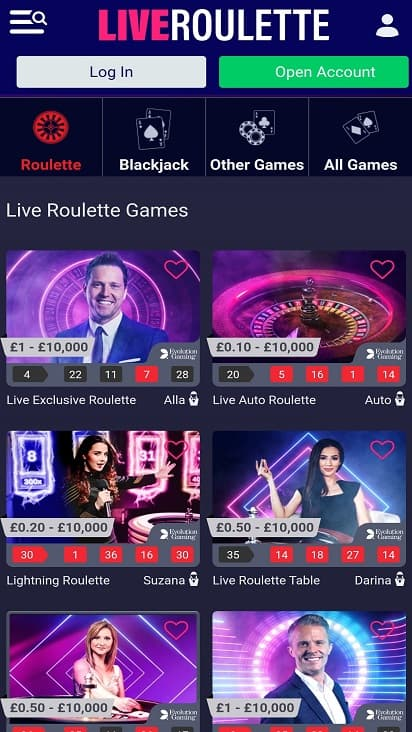 Live roulette games page
