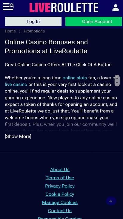 Live roulette promotion page