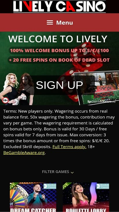 Lively casino home page