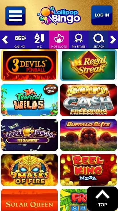 Lollipop bingo games page