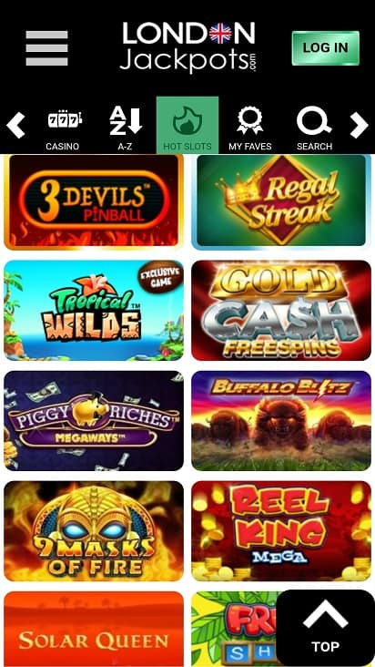 London jackpots games page