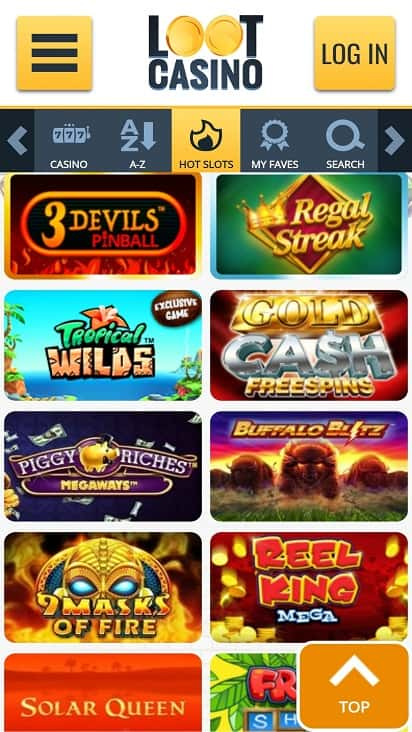 Loot casino games page