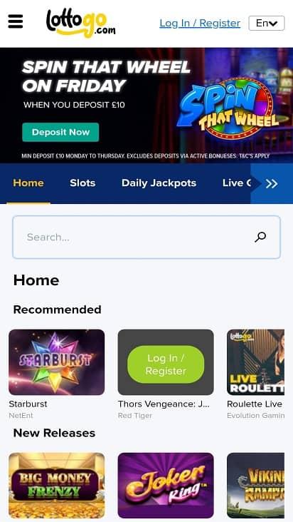 Lotto go games page