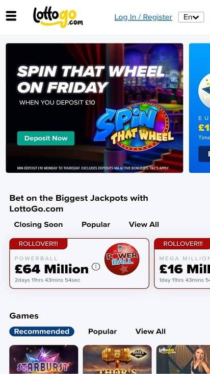 Lotto go home page