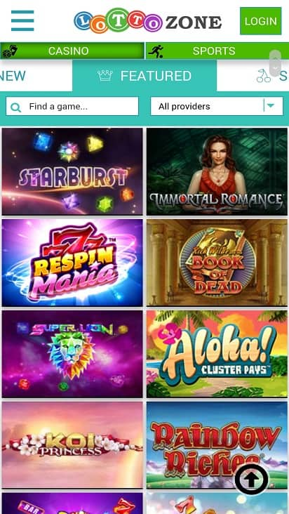Lotto zone games page