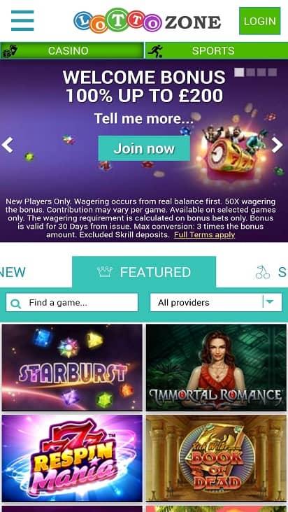 Lotto zone home page