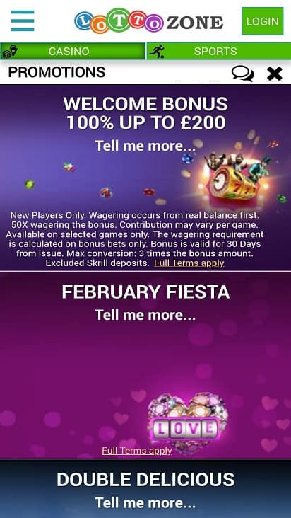 Lotto zone promotions page