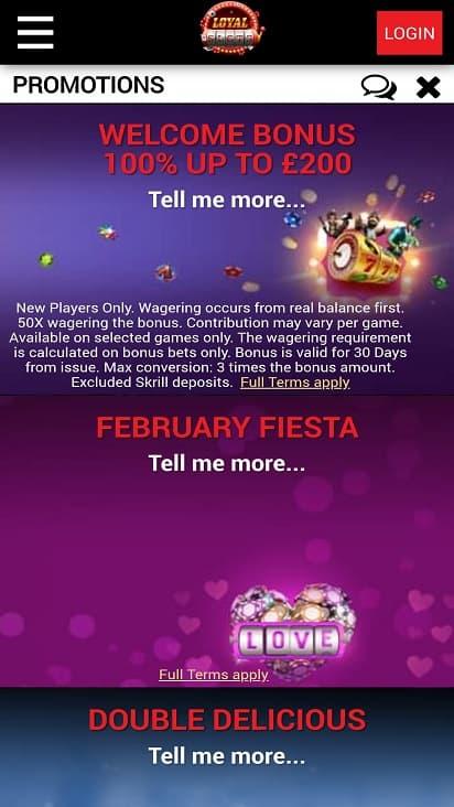Loyal slots promotion page