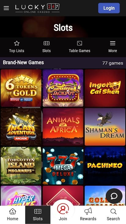Lucky 247 games page