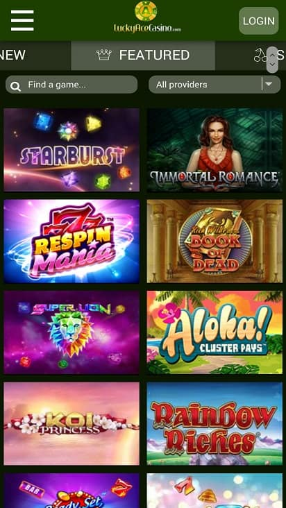 Lucky ace casino games page
