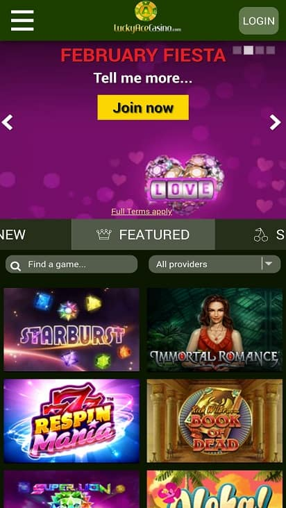 Lucky ace casino home page