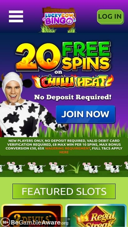 Lucky cow bingo home page