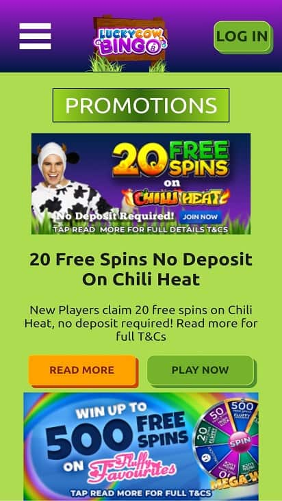 Lucky cow bingo promotions page