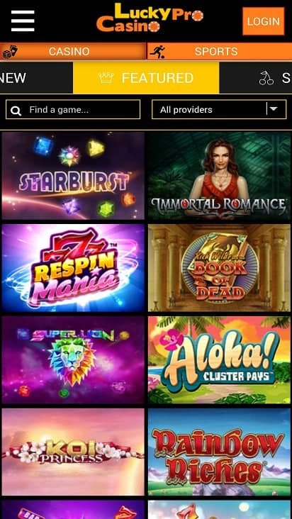 Lucky pro casino games page