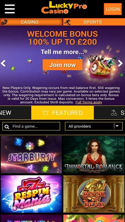 Lucky pro casino home page