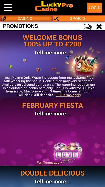 Lucky pro casino promotions page