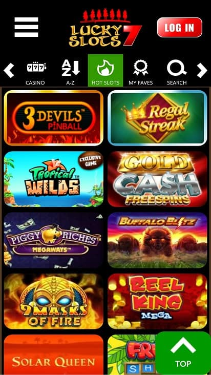 Lucky slots 7 games page
