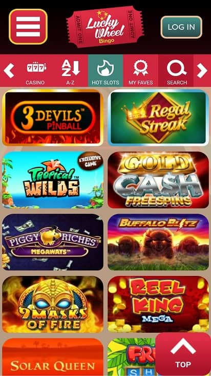 Lucky wheel bingo games page