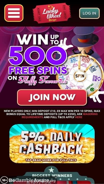 Lucky wheel bingo home page